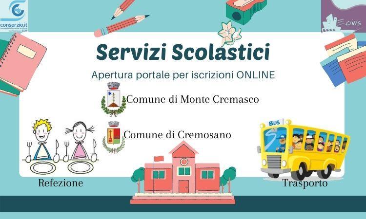 Attivazione portale iscrizione online per mensa e trasporto scolastico Cremosano e Monte Cremasco